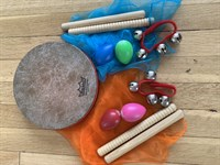 Instrument Set for Two With One Drum